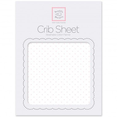 Flannel Fitted Crib Sheet  Polka Dots