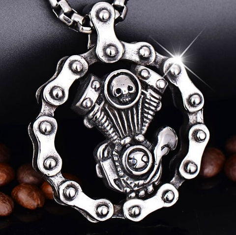 Steampunk Skull Engine Motorcycle Chain Biker Pendant Necklace - Cool Stuff