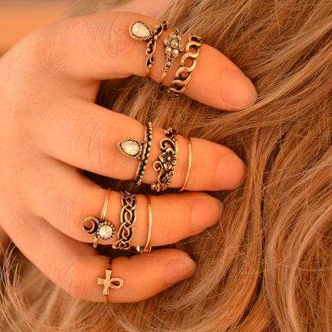 10pcs/Set Vintage Ring Set Unique Carved Antique Silver Anillos Crystal  Knuckle Rings for Women - Cool Stuff