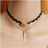 Vintage Gothic Lolita Punk Crystal Choker Necklace Black - Cool Stuff
