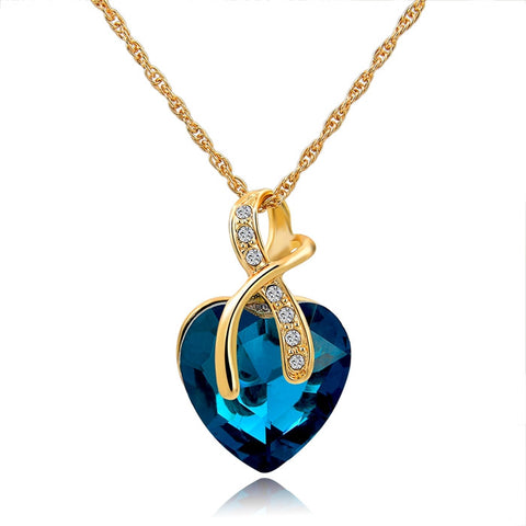 Austrian Crystal Heart  Gold Plated Pendant Necklace - Cool Stuff