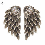 Women's Angel Wings Rhinestone Inlaid Alloy Ear Stud Earrings - Cool Stuff