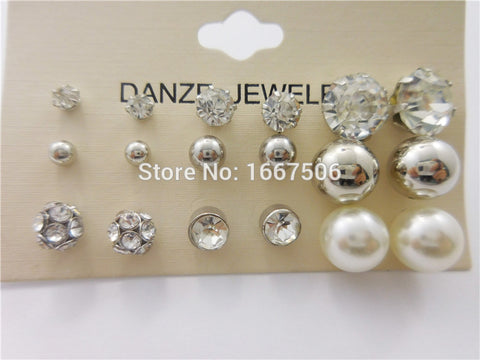 12 Pair /Lot! New Fashion Classic Style Bead Crystal Stud Earrings Set For Women - Cool Stuff
