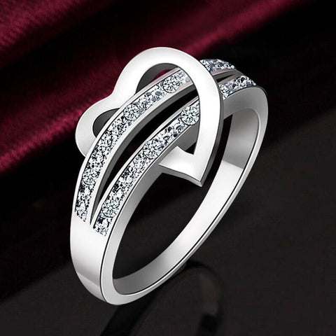 Hot Stainless Steel Heart Female Wedding Ring - Cool Stuff