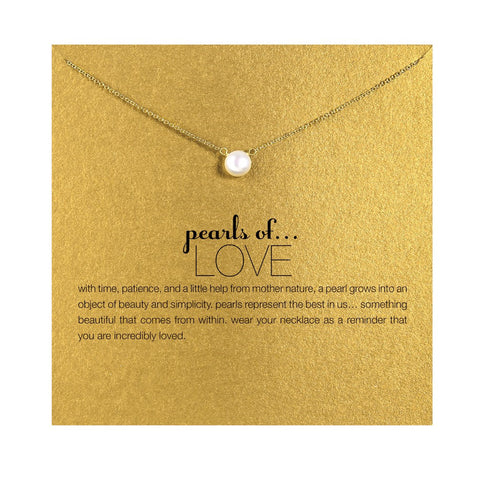 Imitation Pearl of Love Plated Gold Pendant Necklace - Cool Stuff