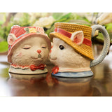 New 2 Piece Tea Ceramics Mug Home Couple Cup Warm Family Cat Kiss Mug - Cool Stuff