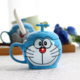 Doraemon Cat Coffee Mug  With Spoon Cover - Cool Stuff