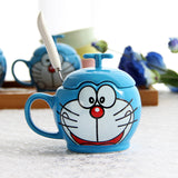 Doraemon Cat Coffee Mug  With Spoon Cover