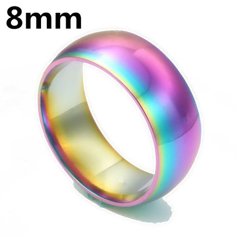 Men Women Rainbow Colorful Ring Titanium Steel - Cool Stuff