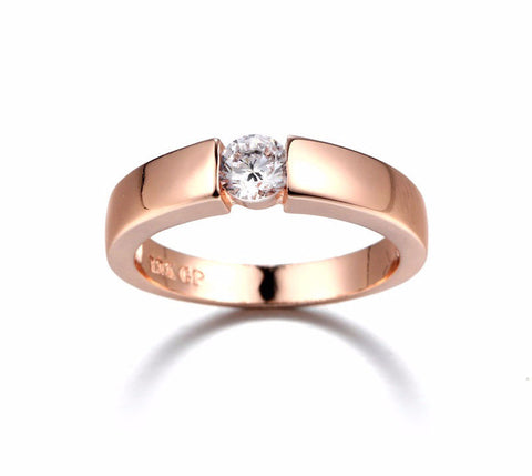 Wedding Ring Rose Gold & White Gold Plated Classical Finger Ring