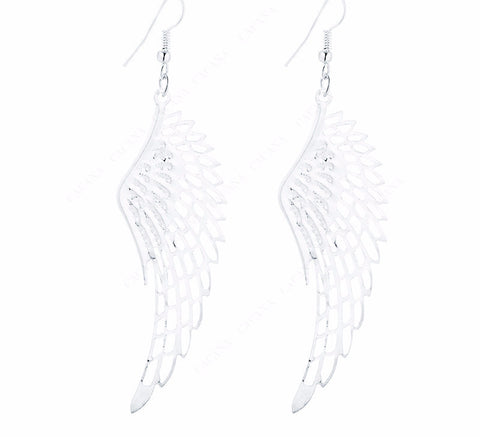 Gold Plated Dangle Long Earrings With Top Quality Big Wing For Women