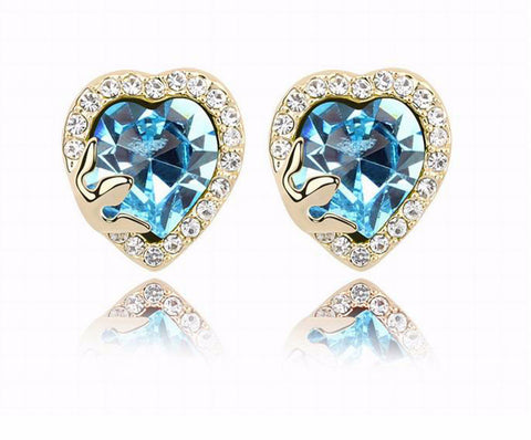 Luxury Temperament Heart Crystal Stud Earrings - Cool Stuff
