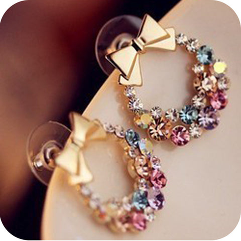 Crystal bBowknot Multi Colored Colorful Bow Stud Earrings - Cool Stuff