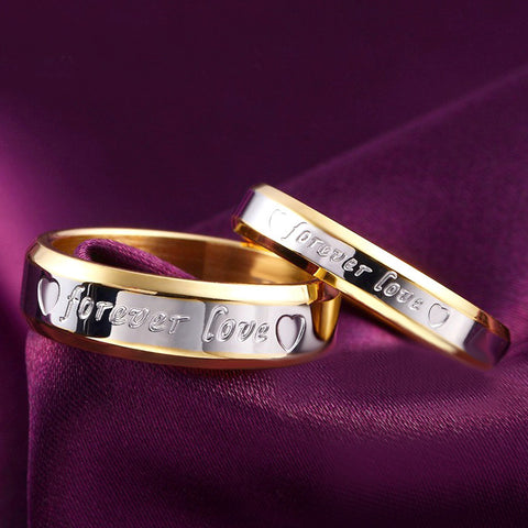 18k Gold Silver Plated Forever Love Letter Couple Rings - Cool Stuff