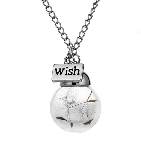 Natural Dandelion Seed in Glass Long /necklace Make A Wish Glass Bead Orb Silver Plated Necklace - Cool Stuff