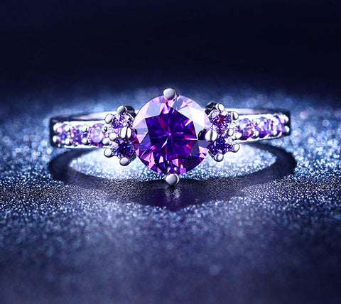 White Gold Plated Rings For Women Purple Amethyst CZ Diamond - Cool Stuff