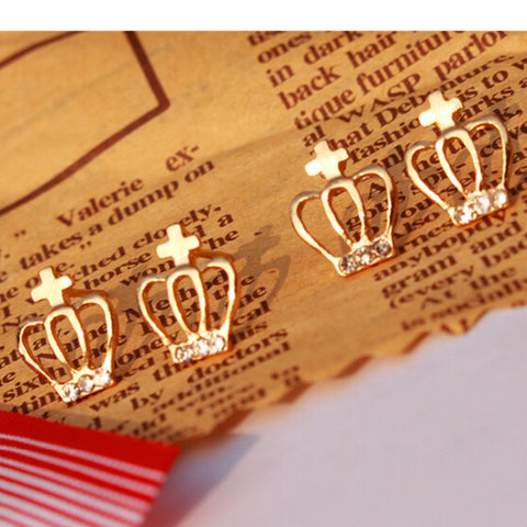 Diamond Gold Plated Crown Stud Earrings - Cool Stuff
