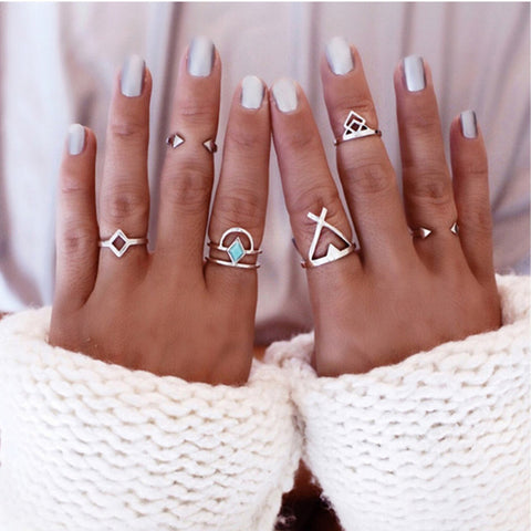 Bohemian 6pcs/Pck Vintage Anti Silver Blue Turquoise Rings Lucky Stackable Midi Rings - Cool Stuff