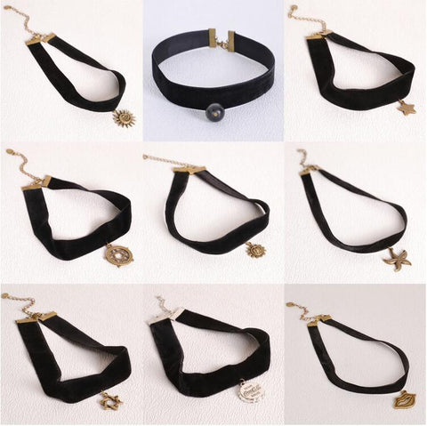 Goth Black Velvet Ribbon Imitation Pearl Star Cross Gothic Tattoo Choker Necklace - Cool Stuff