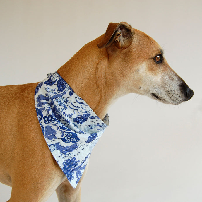 Indian Indigo Floral Kantha Quilted Dog Bandana