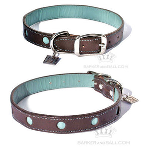 Central Designer Leather Dog Collar