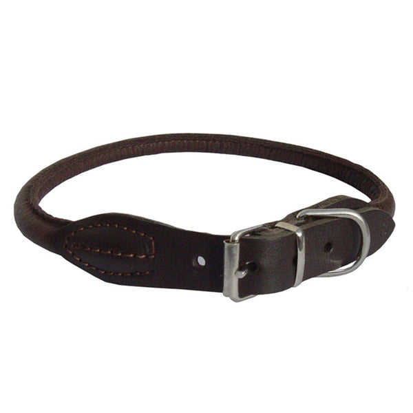 Elk Rolled Leather Dog Collar