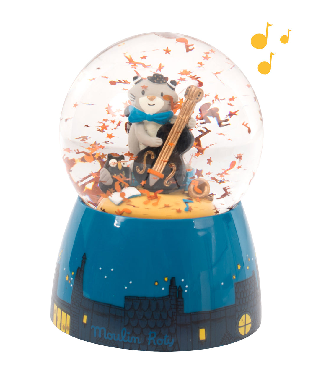 Moulin Roty Les Moustaches Musical Snow Globe