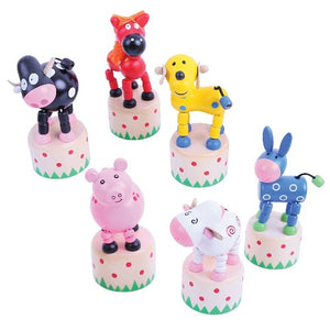 Farm Animal Push Ups Bigjigs Wooden Toys Pocket Money Toys