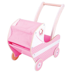 Doll's Pram Polka Dot Bigjigs Wooden Toys