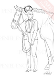Afro Equestrian Digital colouring page
