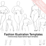 Realistic Fashion Figure Templates | 6 diverse fashion figure templates bundle