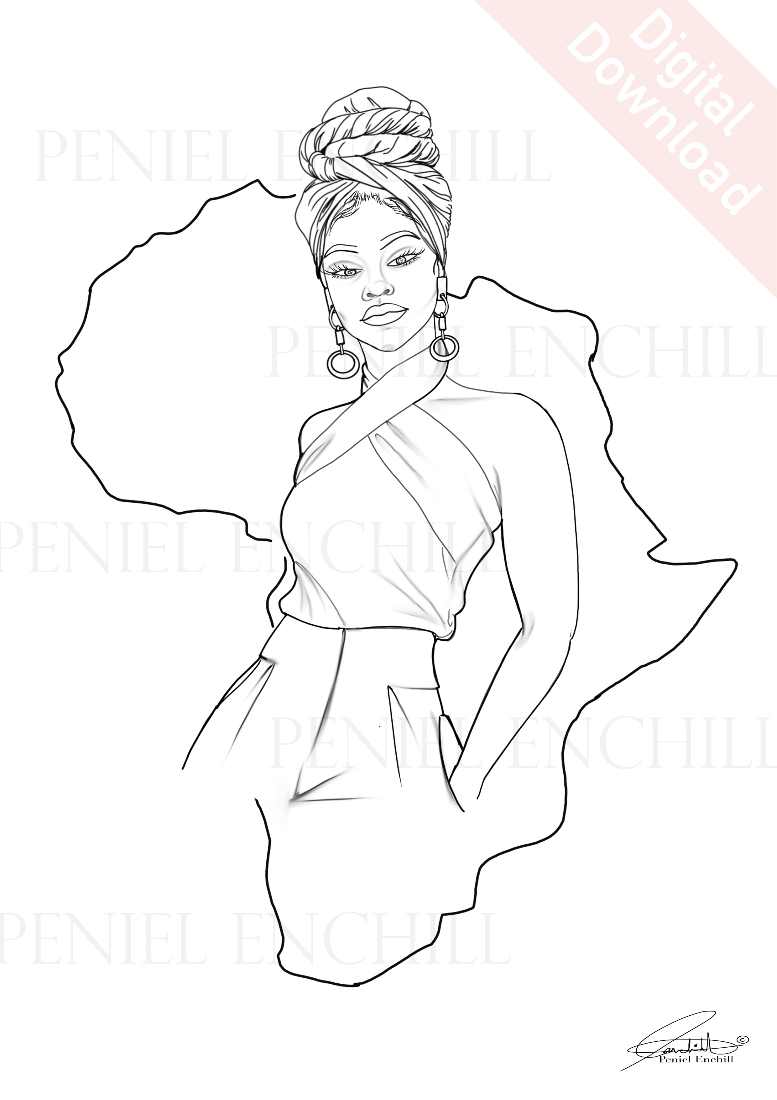 Halter Wrap Digital colouring page