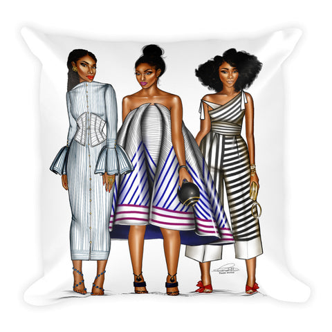 Stripe Belles Square Pillow