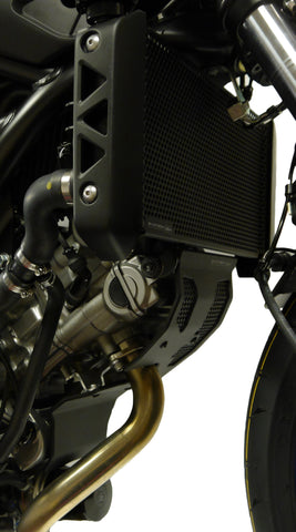 Close up of the EP Radiator Guard for Suzuki SV650
