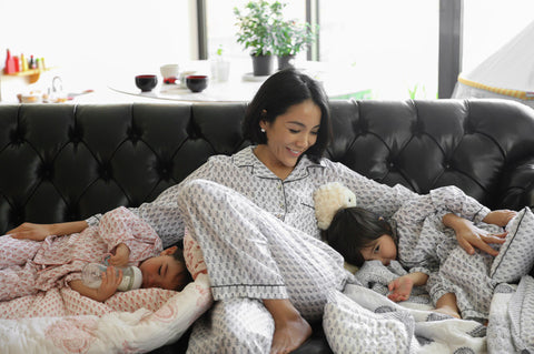 Family wearing Malabar Baby's new loungewear and pajama sets