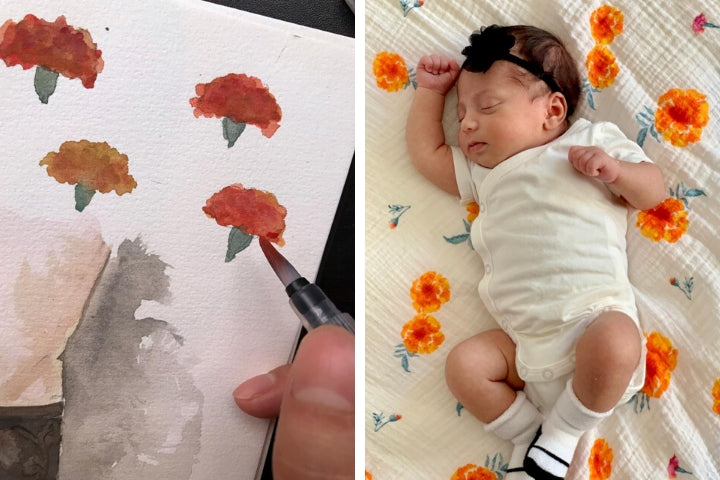 Malabar Baby: painting, printing and final product of our Marigold Swaddle