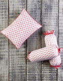 Malabar Baby | Block Printed Pillow & Bolster Set | Pink City