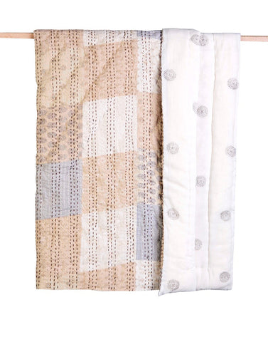 A luxuriously soft and hypoallergenic cotton voile handmade baby crib quilt. Reversible Kantha stitched Design. Beige Patchwork.