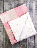 Malabar Baby | Block printed, Natural Cotton Play Mat | Pink Patchwork Kantha Quilt