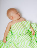 Malabar Baby | Breathable Organic Muslin Swaddle | Lime Stripe Baby Wrap