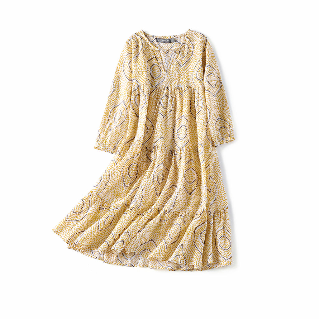 Block Printed Girl's Kaftan Dress - Oia