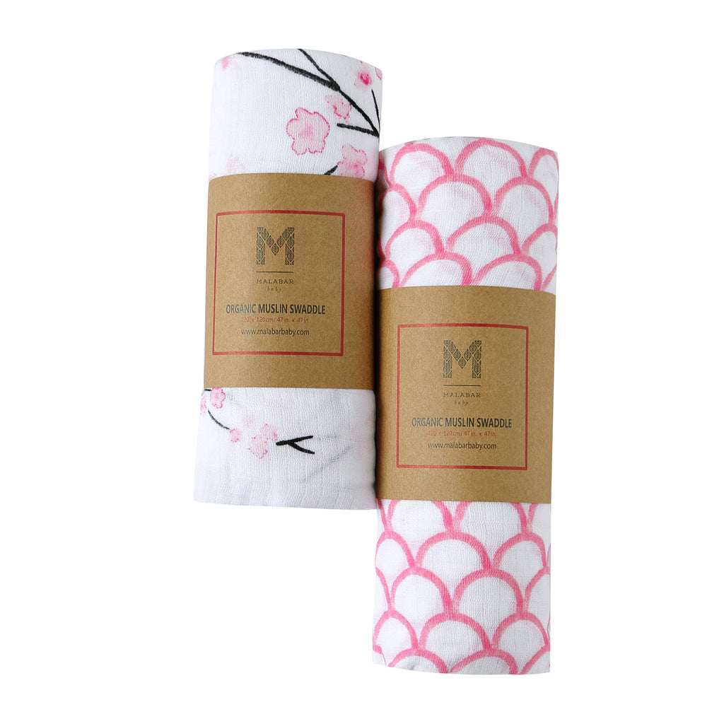 Malabar Baby | Organic Muslin Swaddles | 2 Pack | Cherry Blossom + Pink Rainbow