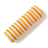Malabar baby's 100% GOTS certified organic cotton super soft baby swaddle. Swaddle gets softer after every wash. The perfect newborn and baby shower gift. This swaddle has a beautiful orange and white stripe design. It's stunning and gender neutral. The perfect baby shower gift.
