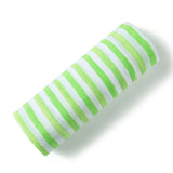 Malabar baby's 100% GOTS certified organic cotton super soft baby swaddle. Swaddle gets softer after every wash. The perfect newborn and baby shower gift. This swaddle has a beautiful white and lime green stripe design. It's stunning and gender neutral. The perfect baby shower gift.
