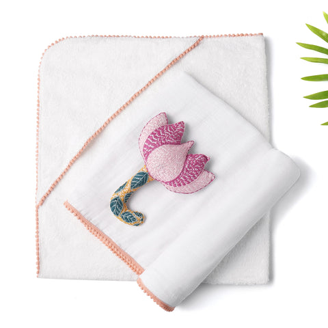 3 Pc Newborn Essential Set - Hooded Towel, Swaddle + Toy Rattle