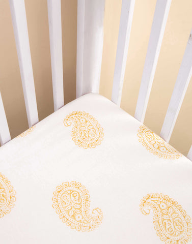 Malabar Baby | Ultra-Soft, Secure Fitted Crib Sheet | Mustard Paisley