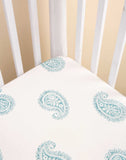 Malabar Baby | Ultra-Soft, Secure Fitted Crib Sheet | Teal Paisley