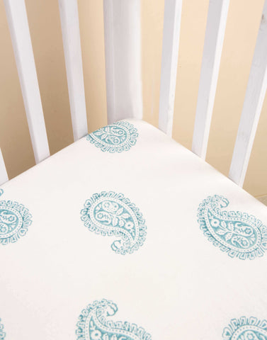 TEAL PAISLEY FITTED CRIB SHEET