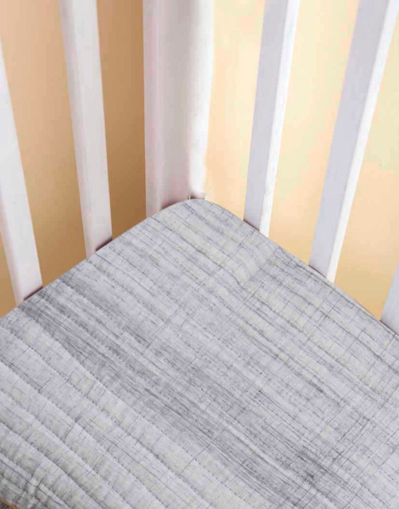 GREY BRUSHSTROKE FITTED CRIB SHEET