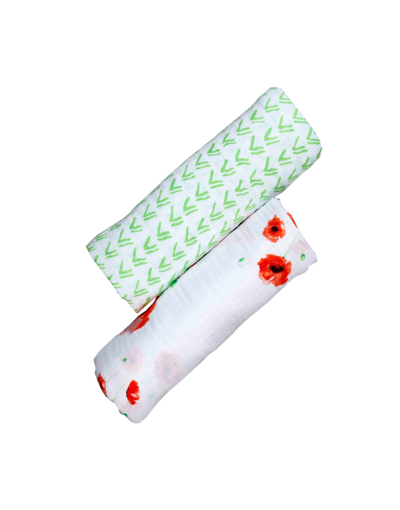 Malabar Baby | Organic Muslin Swaddles | 2 Pack | Red Poppy Flower + Green Grass